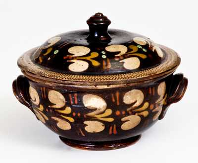 Extremely Rare Redware Sugar Bowl att. John Leman, Tylersport, Montgomery County, PA, c1830