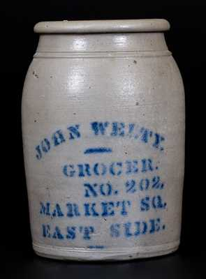 JOHN WELTY (Wheeling, WV) Western PA Stoneware Advertising Jar