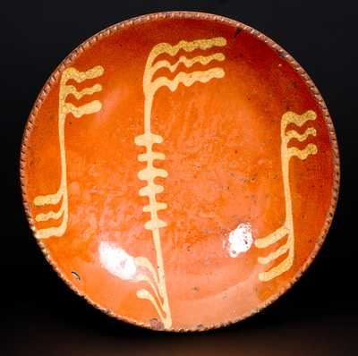 Slip-Decorated probably Philadelphia Redware Plate