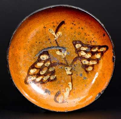 Unusual Slip-Decorated Redware Plate, Berks County, Pennsylvania