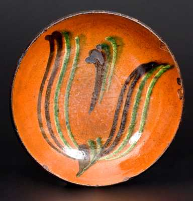 Dryville, PA Redware Plate w/ Two-Color-Slip Tulip Motif
