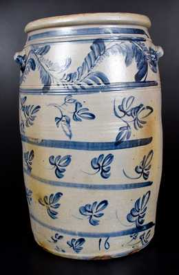 Rare and Outstanding 16 Gal. Stoneware Jar att. D. G. Thompson, Morgantown, WV