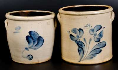 Lot of Two: J. FISHER / LYONS, NY Stoneware Jars with Brushed Decoration