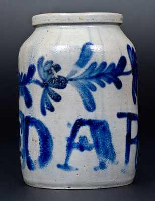 Very Unusual 1/2 Gal. Philadelphia Stoneware Jar Inscribed