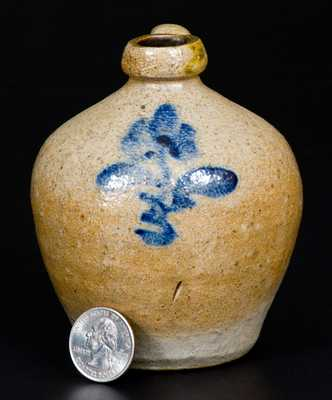 Miniature Ohio Stoneware Jug with Floral Decoration