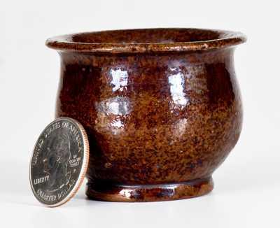 Extremely Rare A. Bixler (Absalom Bixler, Lancaster County, PA) Redware Miniature Jar