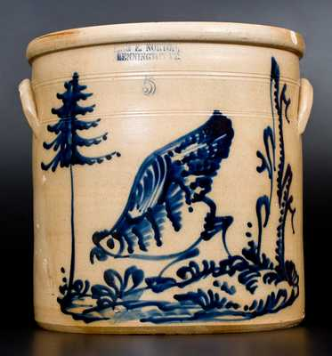 Outstanding J. & E. NORTON / BENNINGTON, VT Stoneware Crock w/ Pecking Chicken Scene