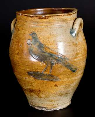 Very Rare Stoneware Jar w/ Fine Incised Bird attrib. William Capron, Albany, NY