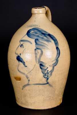 Exceptional F. H. COWDEN / HARRISBURG, PA Stoneware Jug w/ Elaborate Gentleman's Bust