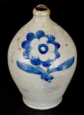 Rare Stoneware Jug att. Wm Capron, Albany, NY w/ Very Fine Incised Floral Decoration