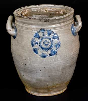 Very Fine attrib. C. Crolius, Manhattan, Stoneware Jar w/ Impressed Decoration, c1810