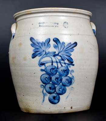 6 Gal. COWDEN & WILCOX / HARRISBURG, PA Stoneware Jar w/ Bold Grapes Decoration