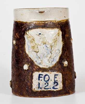 Very Unusual F.O.E. (Fraternal Order of Eagles) Stoneware Pitcher w/ Applied Eagle Motif