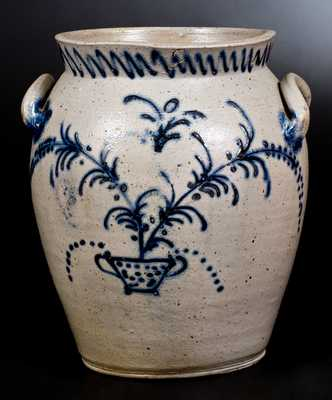 2 Gal. Stoneware Jar with Slip-Trailed Floral Basket Decoration, Baltimore, circa 1820