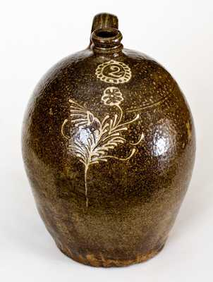 Very Fine 2 Gal. Edgefield, SC Stoneware Jug w/ Slip Decoration, att. Collin Rhodes, Shaw's Creek