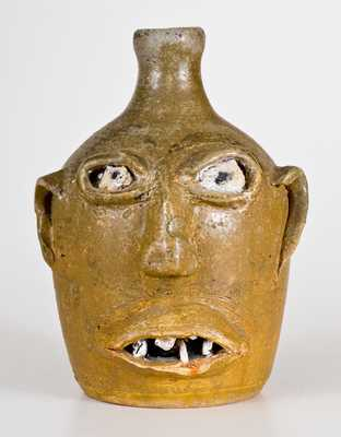 Rare Early-Period Stoneware Face Jug w/ Rock Eyes and Teeth, att. Lanier Meaders, Cleveland, GA
