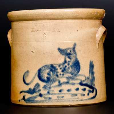 6 Qt. BRADY & RYAN / ELLENVILLE, N.Y. Stoneware Crock with Dog Decoration