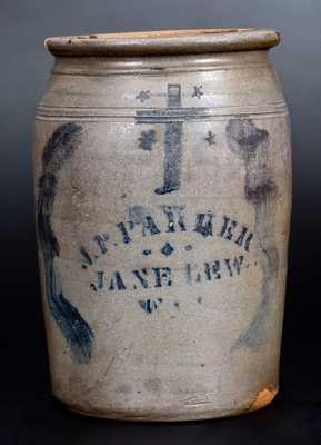 Fine J. P. PARKER / JANE LEW, W. VA. Stoneware Jar with Stenciled Cross