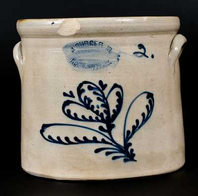 2 Gal. J. BURGER, JR. / ROCHESTER, NY Stoneware Crock with Slip-Trailed Floral Decoration