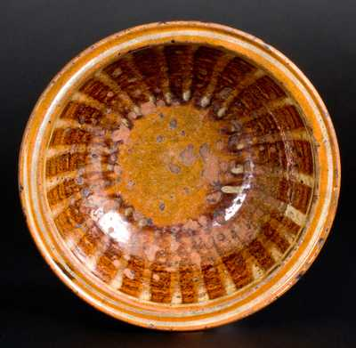 Scarce Slip-Decorated Redware Bowl, attrib. Henry Adam, Hagerstown, MD c1815