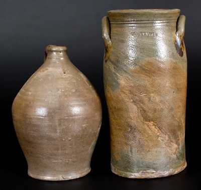 Lot of Two: W. STATES (Stonington, CT) Stoneware Jug and Churn