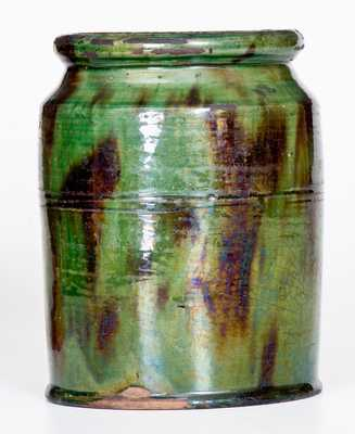 Fine Green Redware Jar with Manganese Streaks