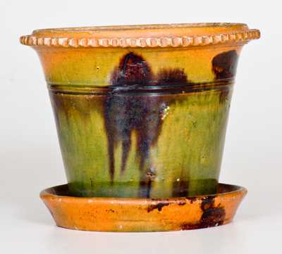 Multi-Colored Redware Flowerpot att. George Wagner, Carbon County, PA