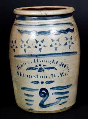 Very Fine 2 Gal. KNOX, HAUGHT & CO. / SHINNSTON, W. Va. Stoneware Jar w/ Stars Decoration