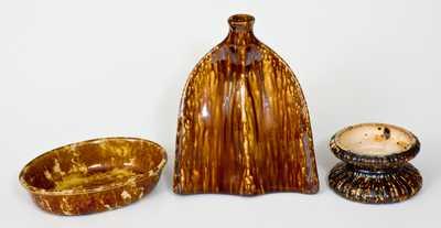 Lot of Three: Rockingham-Type Pottery
