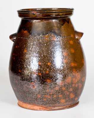 New England Handled Redware Jar