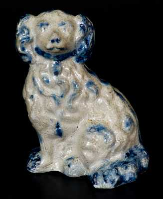 Cobalt-Decorated Stoneware Figure of a Spaniel, probably Ohio origin, circa 1850-1885