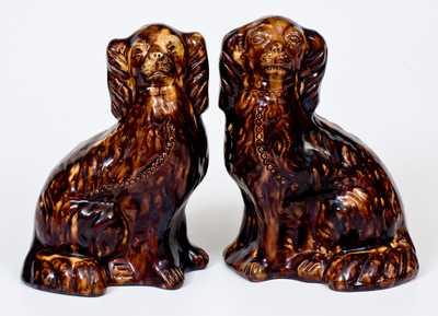 JOHN BELL (Waynesboro, PA) Redware Pair of Spaniel Dogs