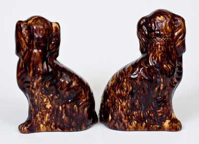 Exceptional Pair of John Bell (Waynesboro, PA) Redware Spaniel Dog Figures