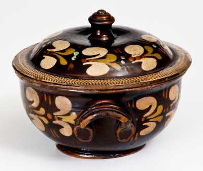 Extremely Rare Redware Sugar Bowl att. John Leman, Tylersport, Montgomery County, PA, c1830