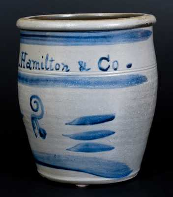 Fine Greensboro, PA Stoneware Cream Jar w/ J. Hamilton & Co. in Freehand Cobalt