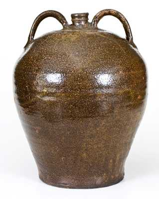 Fine Alkaline-Glazed Double-Handled Stoneware Jug, Edgefield District, SC, circa 1840