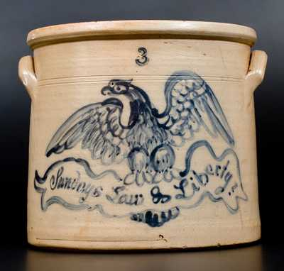 Very Rare Stoneware Crock w/ Elaborate Eagle Design Inscribed