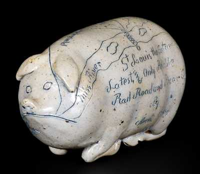 Very Fine ANNA POTTERY / 1889 Stoneware Pig Flask w/ Elaborate Incised Railroad and River Guide