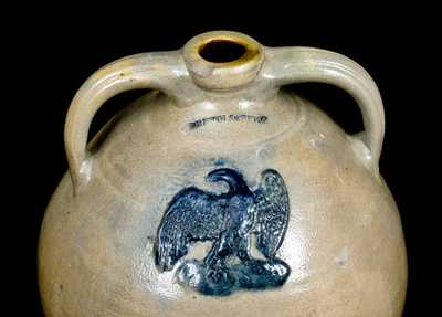 Unusual J. CLARK & CO. / TROY Stoneware Cooler w/ Applied Eagle Impressed BRISTOLS BEER