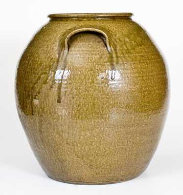 Exceptional 10 Gal. JCM Stoneware Jar, related to Daniel Seagle, Catawba Valley, NC, c1840
