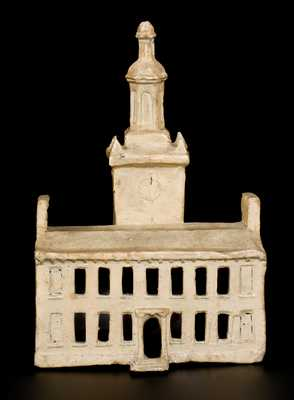 Cold-Painted Redware Sculpture of Independence Hall, probably Philadelphia origin