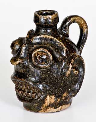 Rare and Important Diminutive Edgefield, South Carolina, Stoneware Face Jug