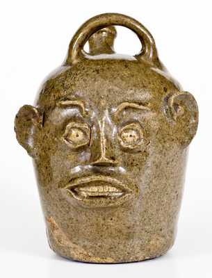 Important Stoneware Face Harvest Jug, Edgefield District, SC, circa 1845-1855, w/ Accompanying Stereocard