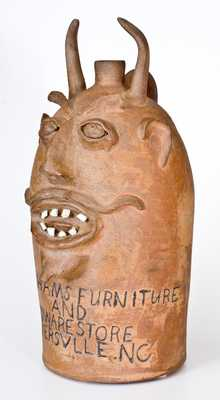 Extremely Rare and Important BROWN POTTERY (Arden, NC) Monumental Stoneware Devil Jug