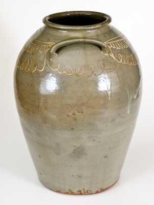 Fine Large-Sized CHANDLER / MAKER (Edgefield District, SC) Stoneware Jar w/ Slip Decoration