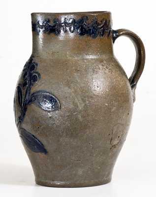 Exceptional Virginia Stoneware Incised Bird Pitcher, probably John Schermerhorn, Richmond, c1815