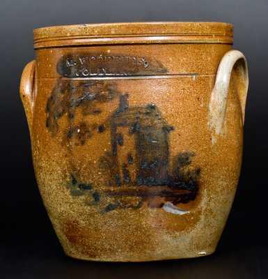Very Rare M. WOODRUFF / CORTLAND Stoneware Jar with House and Tree Decoration