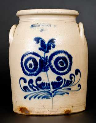 3 Gal. J. & E. NORTON / BENNINGTON, VT Stoneware Jar with Floral Decoration