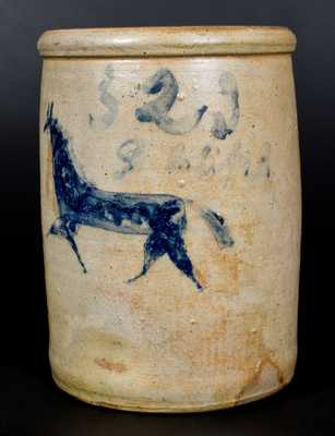 Very Rare Two-Gallon Stoneware Jar with Incised Horse Decoration, Ohio origin, circa 1870