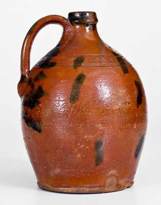 Rare Half-Gallon Great Road (TN or VA) Redware Jug w/ Manganese Slash Design